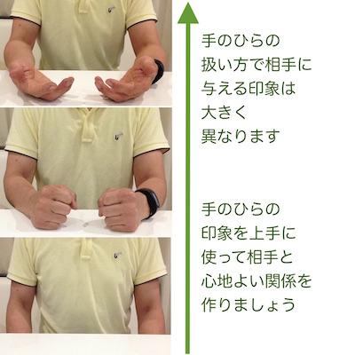 手のひらを見せるノンバーバル