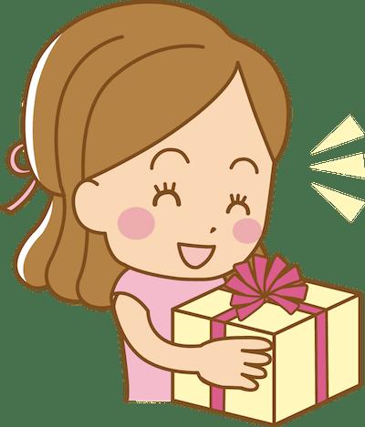 プレゼントを受け取る女性